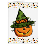 Jack-O-Lantern in Witch Hat Greeting Card