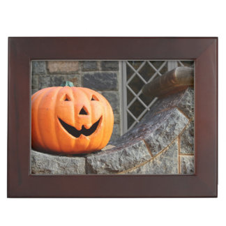 Jack-o-lantern on a stone wall keepsake boxes