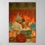 Jack O Lantern Pumpkin Bobbing Apple Black Cat Poster