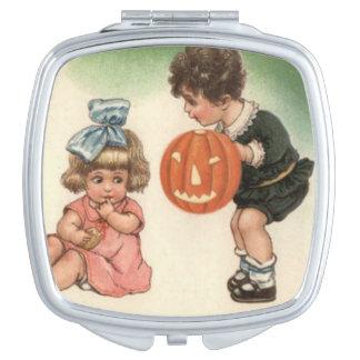Jack O' Lantern Pumpkin Children Playing Travel Mirror