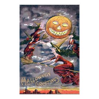 Jack O' Lantern Pumpkin Flying Witch Broom Photo Art
