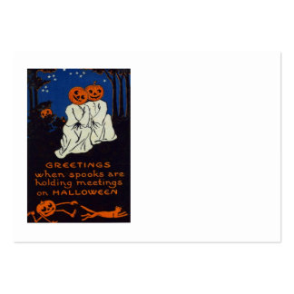 Jack O' Lantern Pumpkin Ghost Costume Cat Large Business Cards (Pack Of 100)
