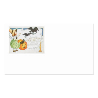 Jack O Lantern Pumpkin Ghost Crow Girl Business Card Template