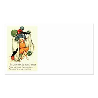 Jack O Lantern Pumpkin Ghost Girl Business Card