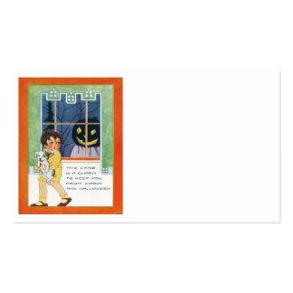 Jack O Lantern Pumpkin Ghost Girl Puppy Pack Of Standard Business Cards