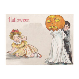 Jack O' Lantern Pumpkin Ghost Trick Or Treat Stretched Canvas Print