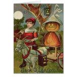 Jack O' Lantern Pumpkin Goat Full Moon Greeting Card