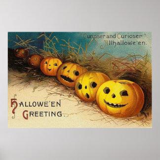 Jack O' Lantern Pumpkin Hay Field Poster