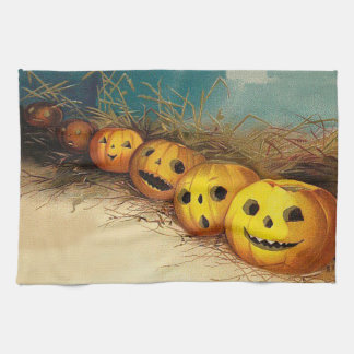 Jack O' Lantern Pumpkin Hay Field Tea Towel
