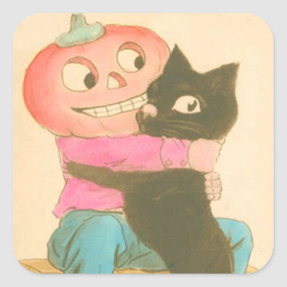 Jack O Lantern Pumpkin Scarecrow Black Cat Square Sticker