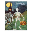 Jack O' Lantern Pumpkin Skeleton Cemetery Postcard