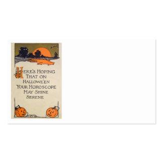Jack O Lantern Pumpkin Sunset Bat Double-Sided Standard Business Cards (Pack Of 100)