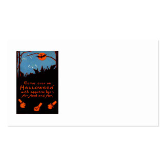 Jack O' Lantern Pumpkin Witch Bat Moon Pack Of Standard Business Cards