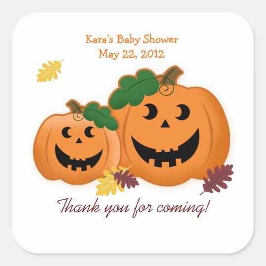 Jack O Lantern Pumpkins Baby Shower Favour Sticker