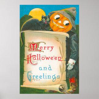 Jack O Lantern Scarecrow Black Cat Moon Poster
