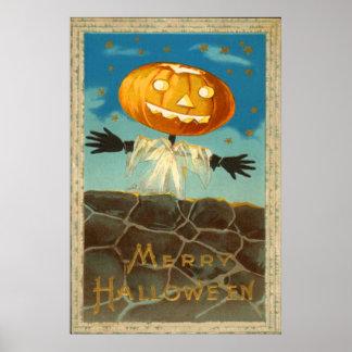 Jack O Lantern Scarecrow Stars Pumpkin Poster