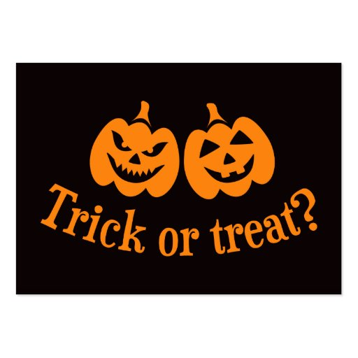 Jack o lantern trick or treat business card templates