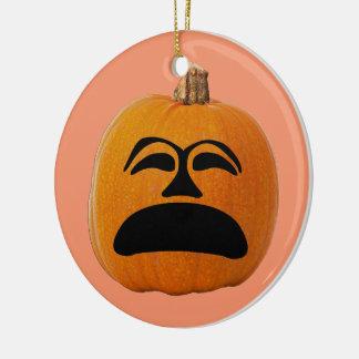 Jack o' Lantern Unhappy Face, Halloween Pumpkin Christmas Ornament