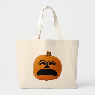 Jack o' Lantern Unhappy Face, Halloween Pumpkin Large Tote Bag