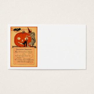 Jack O Lantern Witch Black Cat Bat Vintage Business Card