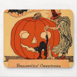Jack O Lantern Witch Black Cat Vintage Halloween Mouse Pad