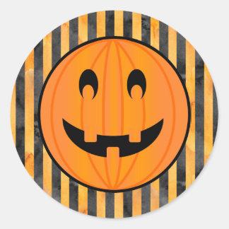 Jack o Lantern with Halloween Stripes Stickers