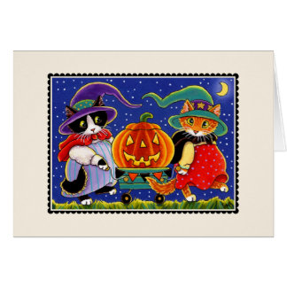 Jack O'Lantern Halloween Cat Notecard Card