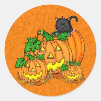 Jack O'Lanterns Halloween Round Stickers