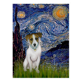 Jack Russell 10 - Starry Night Postcard