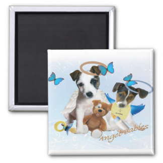 Jack Russell  Angel Babies Square Magnet