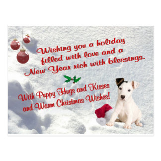 Jack Russell Christmas Hugs and Kisses Postcard