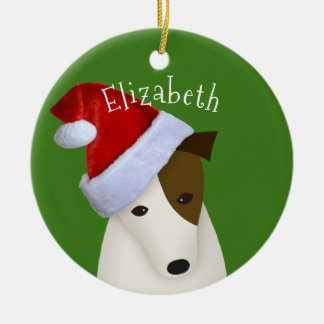 Jack Russell Christmas Santa hat Christmas Ornament