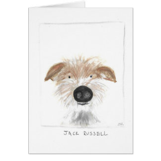jack russell design greeting card, blank inside, card