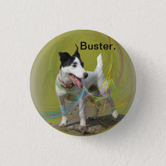 Jack Russell dog on a swirled coloured background. 3 Cm Round Badge