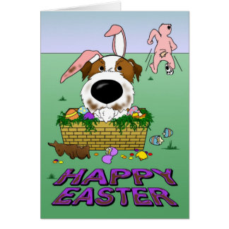 Jack Russell Happy Easter Card