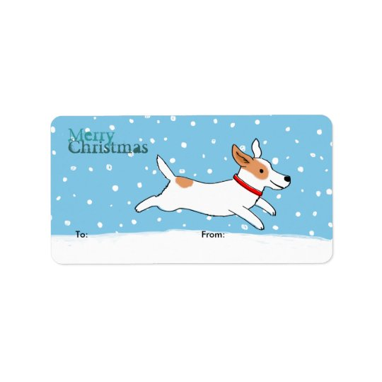 Jack Russell Holiday Fun Dog Christmas Gift Labels