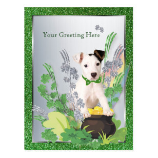 Jack Russell Original Puppy St Pattys 2nd Version Postcard