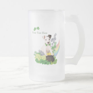 Jack Russell Original Puppy St Pattys Day Wishes Frosted Glass Beer Mug