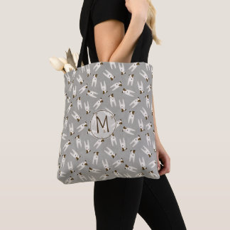 Jack Russell pattern gray or any color monogrammed Tote Bag