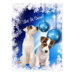Jack Russell Puppy Let It Snow Design #2 Postcard
