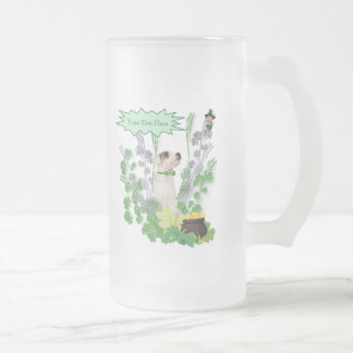 Jack Russell Puppy Number Two St Pattys Day Wishes Frosted Glass Beer Mug