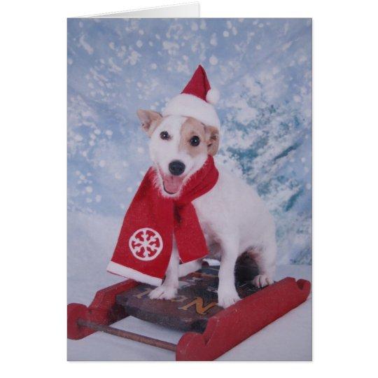 Jack Russell Santa Helper Card