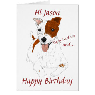 Jack Russell Terrier add name front Greeting Card