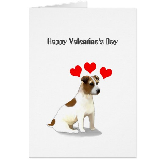 Jack Russell Terrier and Hearts Valentine Card