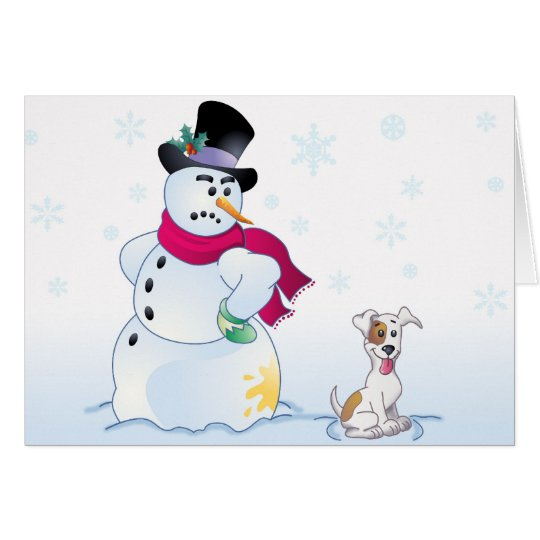 Jack Russell Terrier and Snowman Card