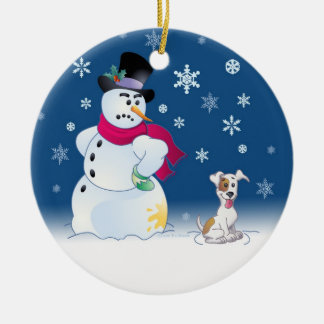 Jack Russell Terrier and Snowman Christmas Ornament