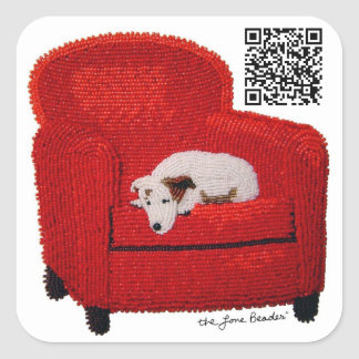 Jack Russell Terrier Beaded Print QR code sticker