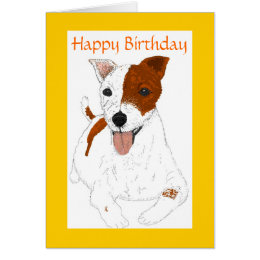 Jack russell birthday cards invitations zazzle jack russell terrier birthday card bookmarktalkfo Image collections