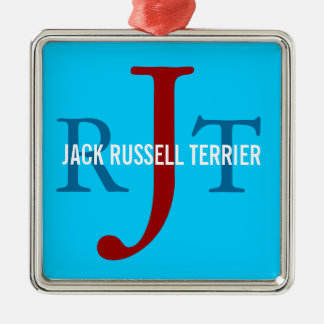Jack Russell Terrier Breed Monogram Silver-Colored Square Decoration