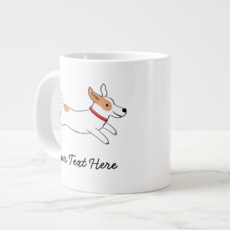 Jack Russell Terrier Cartoon Dog with Custom Text Large Coffee Mug
